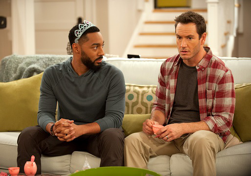 "PEOPLE ARE TALKING -- ""PILOT"" -- Pictured: (l-r) Tone Bell as Russell, Mark-Paul Gosselaar as Mitch -- (Photo by: Colleen Hayes/NBC)"