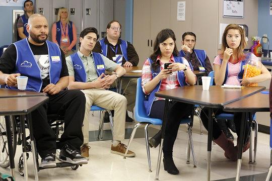 "SUPERSTORE -- ""Pilot"" -- Pictured: (l-r) Colton Dunn as Garrett, Ben Feldman as Jonah, America Ferrera as Amy, Nichole Bloom as Cheyenne -- (Photo by: Trae Patton/NBC)"
